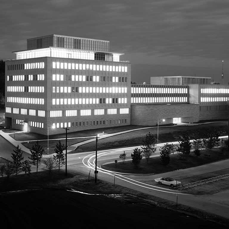 Night photo of the School of Business in 1966