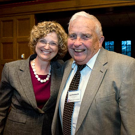"Photo of current Kelley dean ""Idie"" Kesner and form dean Jack Wentworth"